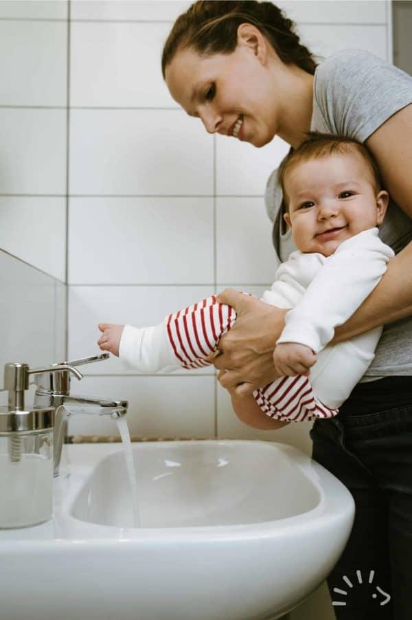 Popolini Windelfrei Baby Waschbecken